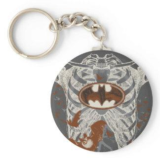 Bat Symbol Ribcage Vintage Collage Keychain Zazzle_keychain