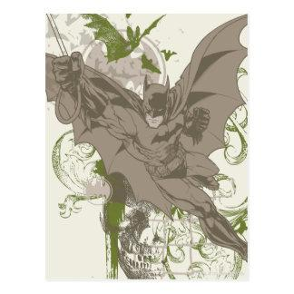 Batman Swinging Collage with Skull Postcard Zazzle_postcard