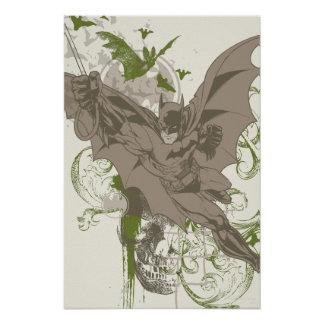 Batman Swinging Collage with Skull Poster Zazzle_print