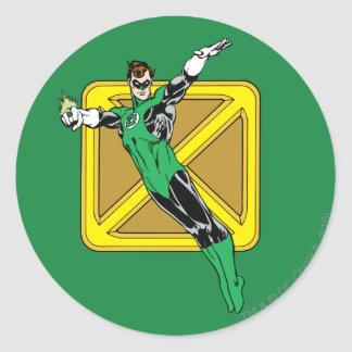 Green Lantern  with Background Classic Round Sticker Zazzle_sticker