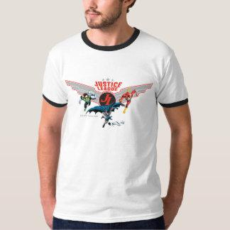 Justice League Flying Air Badge and Heroes T-Shirt Zazzle_shirt