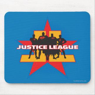 Justice League Silhouettes and Star Background Mouse Pad Zazzle_mousepad