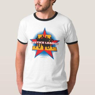 Justice League Silhouettes and Star Background T-Shirt Zazzle_shirt