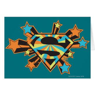 Supergirl Colorful Stars Logo Greeting Card