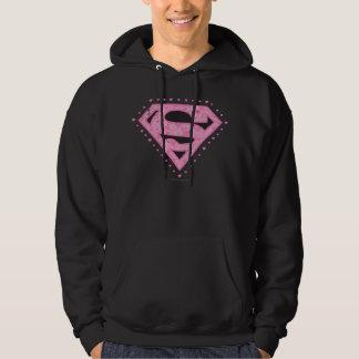 Supergirl Distressed Logo Black and Pink Hoodie