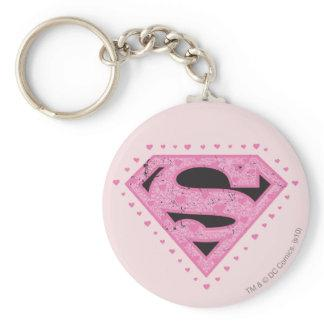 Supergirl Distressed Logo Black and Pink Keychain Zazzle_keychain