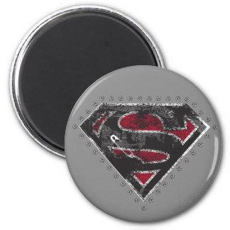 Supergirl Distressed Logo Black and Red 2 Inch Round Magnet Zazzle_magnet