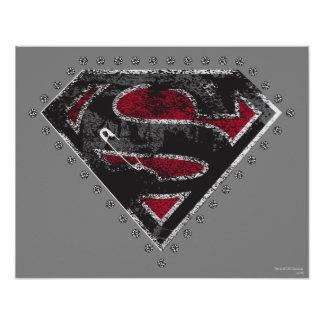 Supergirl Distressed Logo Black and Red Poster Zazzle_print