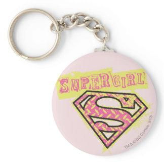 Supergirl Grunge Logo Pink Basic Round Button Keychain Zazzle_keychain