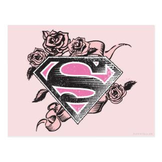 Supergirl Logo with Roses Postcard
