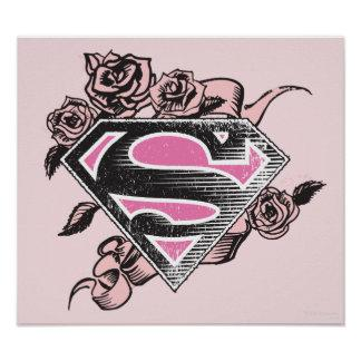 Supergirl Logo with Roses Poster Zazzle_print