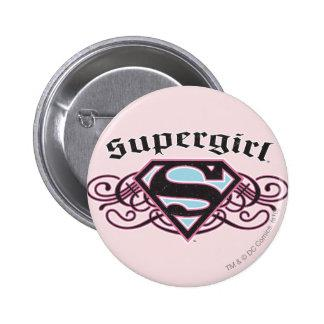 Supergirl Pin Strips Black and Pink Zazzle_button