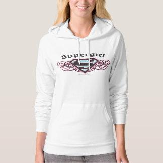 Supergirl Pin Strips Black and Pink Hooded Pullover Zazzle_shirt