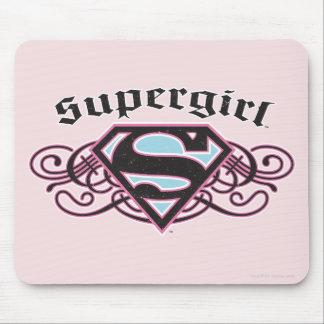 Supergirl Pin Strips Black and Pink Mouse Pad