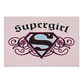 Supergirl Pin Strips Black and Pink Poster Zazzle_print