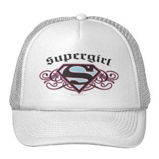 Supergirl Pin Strips Black and Pink Trucker Hat Zazzle_hat