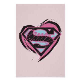 Supergirl Pink Logo in Heart Poster Zazzle_print