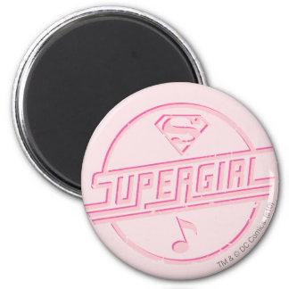 Supergirl Pink Music Note 2 Inch Round Magnet Zazzle_magnet