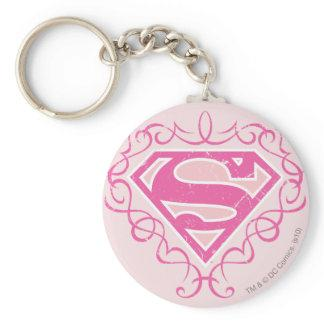 Supergirl Pink Stripes Basic Round Button Keychain Zazzle_keychain