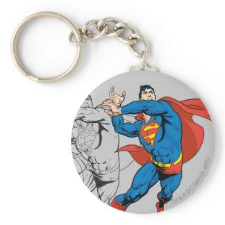Superman Comic Panels Basic Round Button Keychain Zazzle_keychain