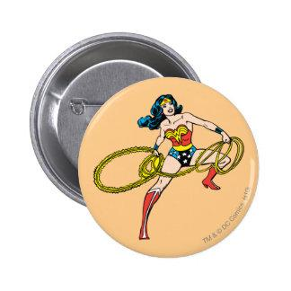 Wonder Woman Swinging Lasso Right Pinback Button Zazzle_button